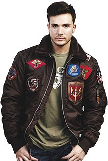 Top Gun Official B-15 Flight Bomber Jacket with Patches Brown