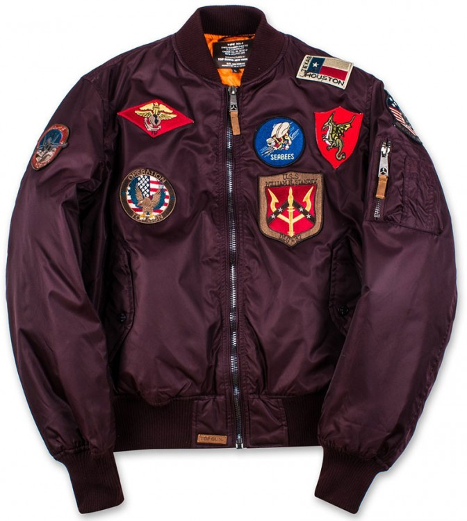 Бомбер Top Gun MA-1 Nylon Bomber Jacket with Patches Burgundy
