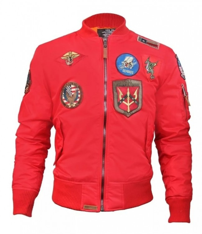 Бомбер Top Gun MA-1 Lightweight Nylon Bomber Jacket With Patches Commander Red
