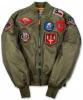 Бомбер Top Gun MA-1 Nylon Bomber Jacket with Patches Olive