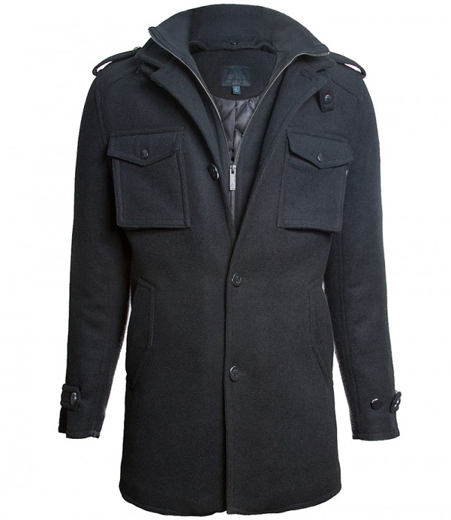 Пальто бушлат Top Gun Men's Slim Fit Wool Pea Coat  Black