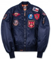 Бомбер Top Gun MA-1 Nylon Bomber Jacket with Patches Navy