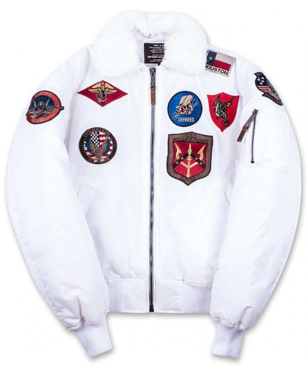 Бомбер Top Gun Official B-15 Flight Bomber Jacket with Patches White