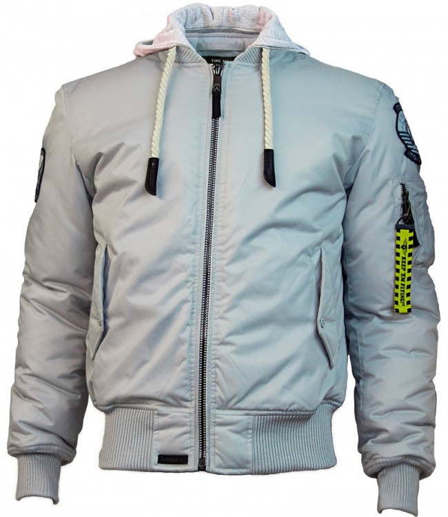 Куртка Top Gun MA-1 Nylon Bomber jacket with hoodie Grey
