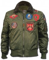 Бомбер Top Gun Official B-15 Flight Bomber Jacket with Patches Olive