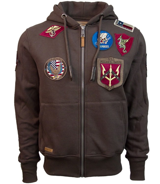 Реглан Top Gun Men's zip up hoodie with patches Brown