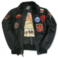 Бомбер Top Gun Official B-15 Flight Bomber Jacket with Patches Black