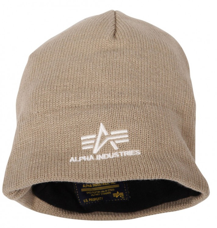 Шапка Knit Cap With Fleece Lining Alpha Industries (коричнева)