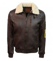 Top Gun Men's Bomber With Removable Fur Brown TG1911