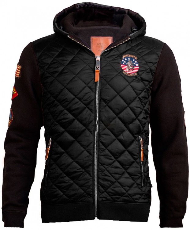 Куртка-реглан Top Gun Quilted Fleece Hoodie with Patches Black