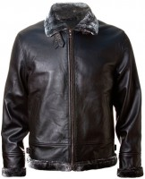 Шкіряна куртка Top Gun Leather Jacket with Bonded Fur (чорна)