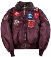 Бомбер Top Gun Official B-15 Flight Bomber Jacket With Patches Burgundy