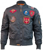 Бомбер Top Gun MA-1 Nylon Bomber Jacket with Patches Grey