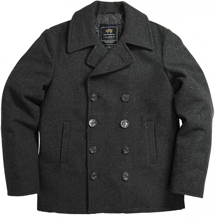 Пальто бушлат Navy Pea Coat Alpha Industries (сіре)