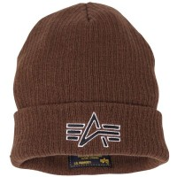 Шапка Knit Logo Cap Alpha Industries (коричнева)