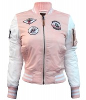 Жіночий бомбер Miss Top Gun MA-1 jacket with patches Pink and White