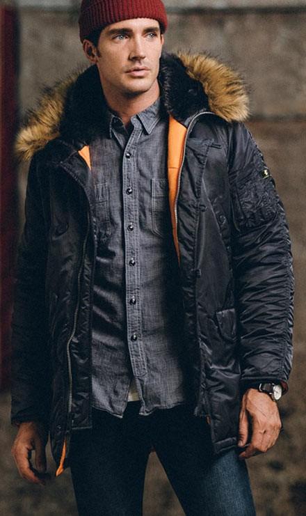 549cdcc9 Куртка аляска Slim Fit N-3B Parka Alpha Industries Black/Orange W/Back