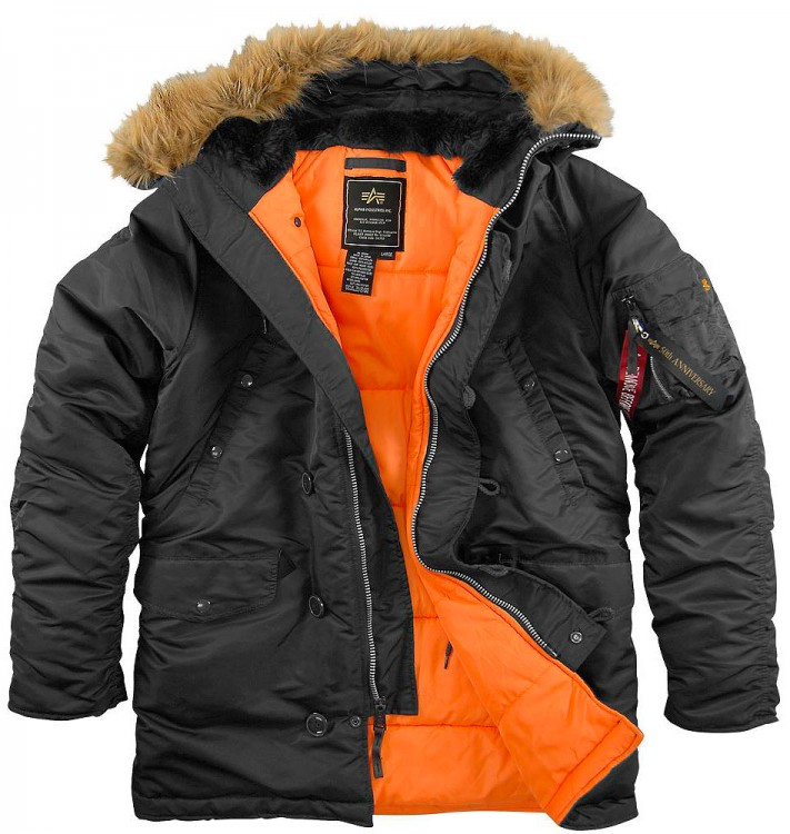 Куртка аляска Slim Fit N-3B Parka Alpha Industries Black/Orange