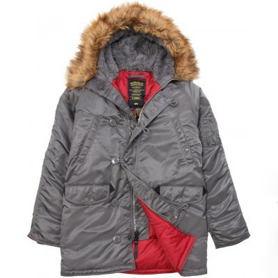 Куртка аляска N-3B Slim Fit Parka Alpha Industries Gun Metal/Red