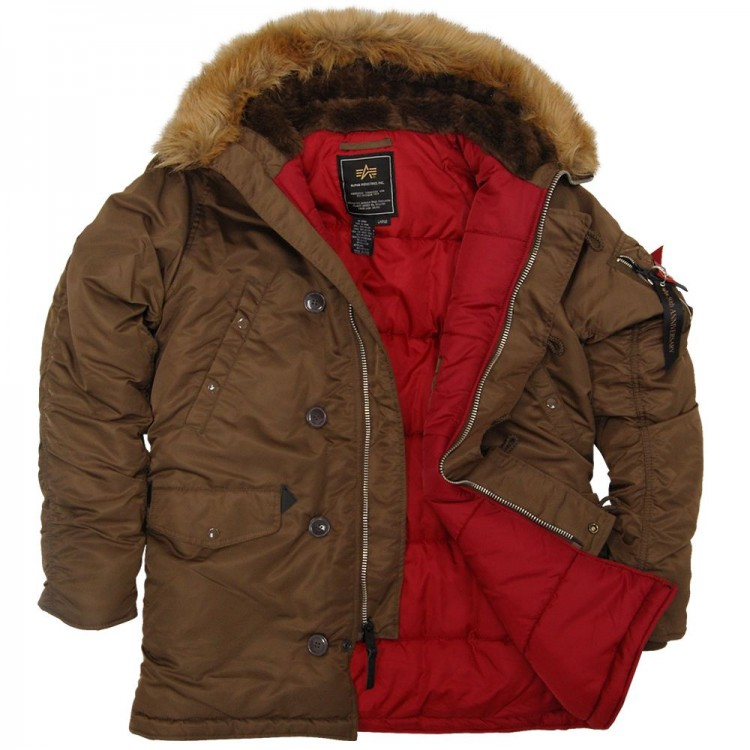 Куртка аляска N-3B Slim Fit Parka Alpha Industries Brown/Red