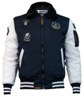 Бомбер Top Gun MA-1 Color Block Bomber Jacket With Fur & Patches Navy-White