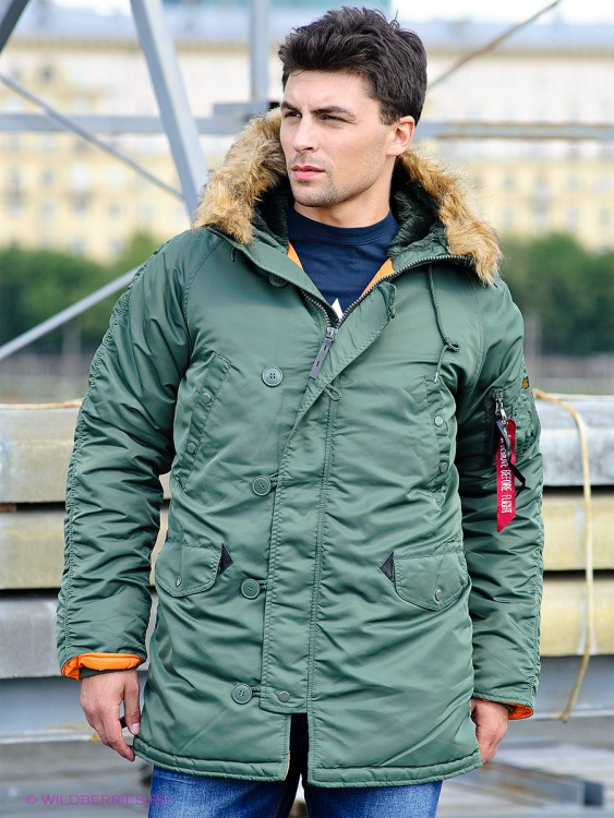 Куртка аляска Slim Fit N-3B Parka Alpha Industries Olive