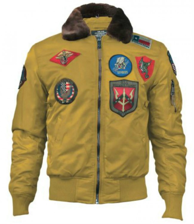 Бомбер Top Gun Official B-15 Flight Bomber Jacket with Patches Wheat
