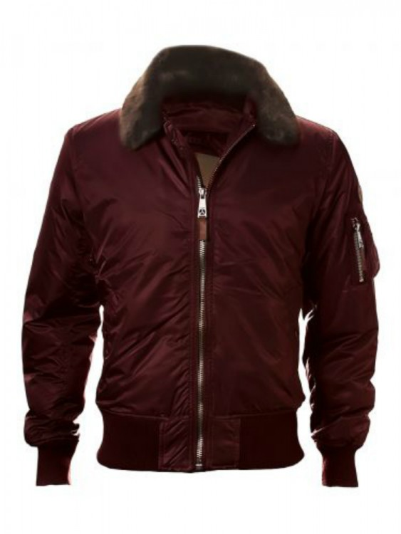 Бомбер Top Gun B-15 Men's Heavy Duty Vintage Flight Bomber Jacket Burgundy