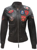 Жіночий бомбер Top Gun Women's Vegan Leather Bomber Jacket Brown