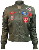 Жіночий бомбер Miss Top Gun MA-1 jacket with patches Olive