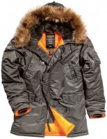 Куртка аляска Slim Fit N-3B Parka Alpha Industries Dark Gray/Orange
