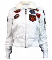 Жіночий бомбер Miss Top Gun B-15 flight jacket with patches (білий)